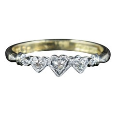 Antique Edwardian Triple Heart Diamond Ring 18 Carat Plat, circa 1915