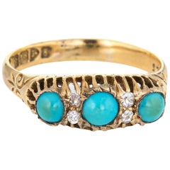 Antique Edwardian Turquoise Diamond Ring 18 Karat Yellow Gold Bridge Chester UK