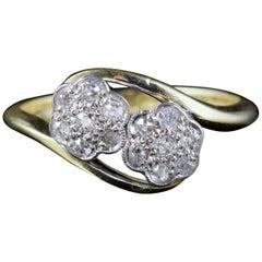Antique Edwardian Twist Diamond Ring 18 Carat Plat, circa 1915
