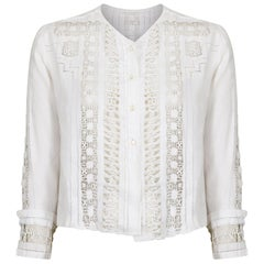 Antique Edwardian White Linen Blouse With Cut Out Work
