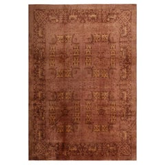 Antique Eggplant Pink and Brown Wool Floral Rug
