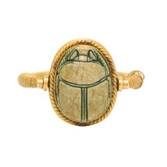 Antique Egyptian Revival Faience Scarab Spinner Ring