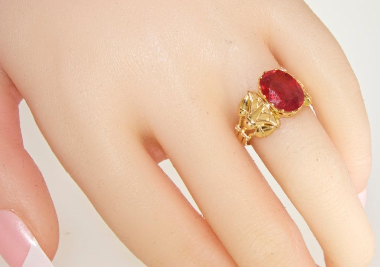 Antique Egyptian Revival Fire Opal and Gold Ring, circa 1915 For Sale 7