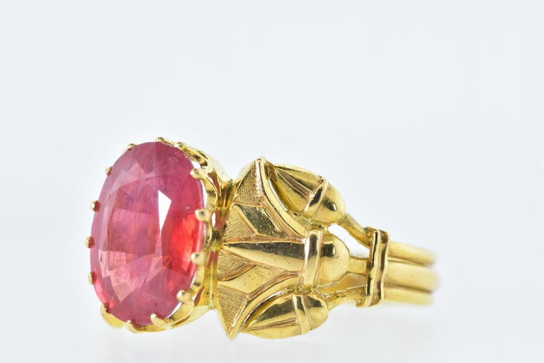 Antique Egyptian Revival Fire Opal and Gold Ring, circa 1915 In Excellent Condition For Sale In Aspen, CO