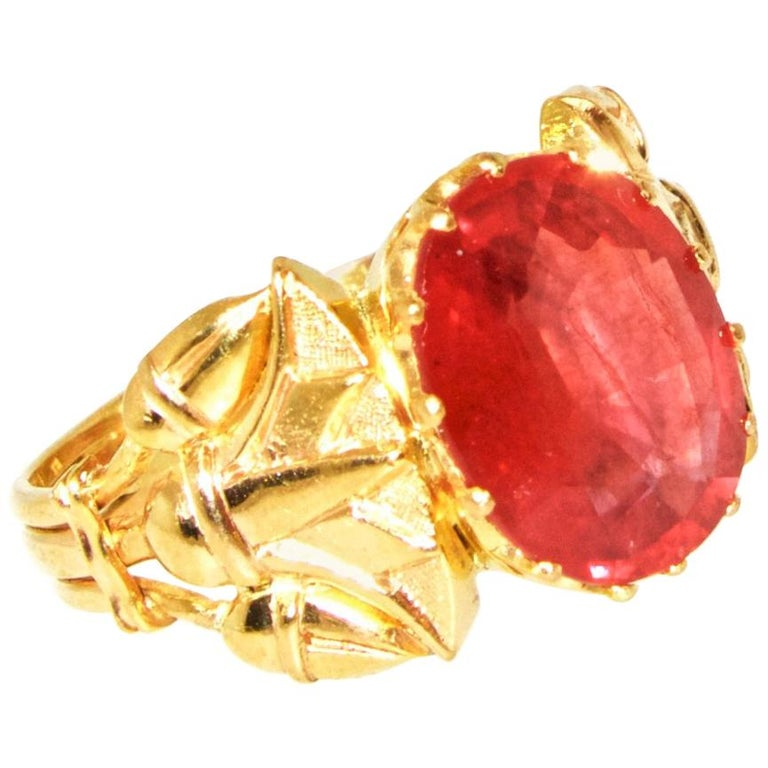 Antique Egyptian Revival Fire Opal and Gold Ring, circa 1915 For Sale 1