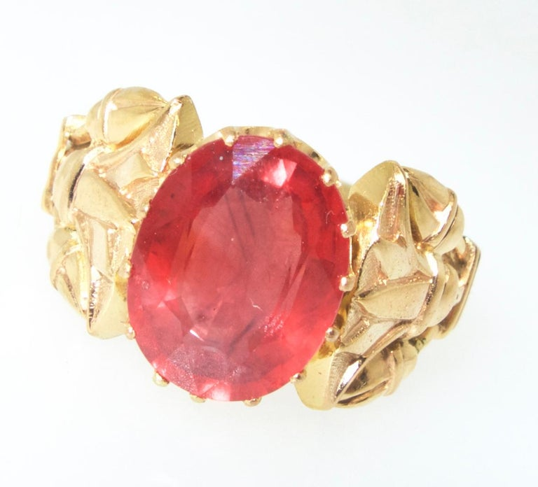 Antique Egyptian Revival Fire Opal and Gold Ring, circa 1915 For Sale 2