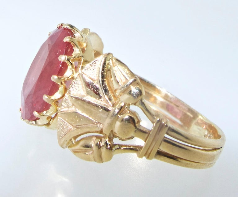 Antique Egyptian Revival Fire Opal and Gold Ring, circa 1915 For Sale 4