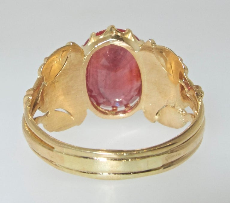Antique Egyptian Revival Fire Opal and Gold Ring, circa 1915 For Sale 5