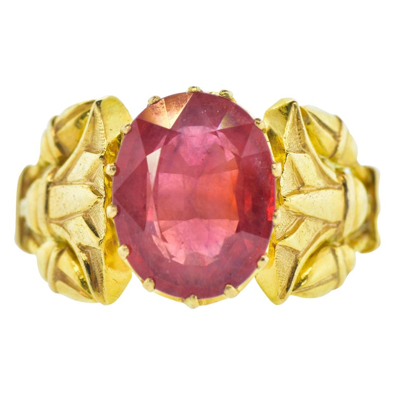 Antique Egyptian Revival Fire Opal and Gold Ring, circa 1915 For Sale