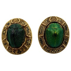 Antique Egyptian Revival Natural Scarab Earrings Enamel 14 Karat Gold