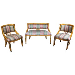 Antique Egyptian Revival Olive Burlwood Parlor Set Chairs Settee Neoclassical