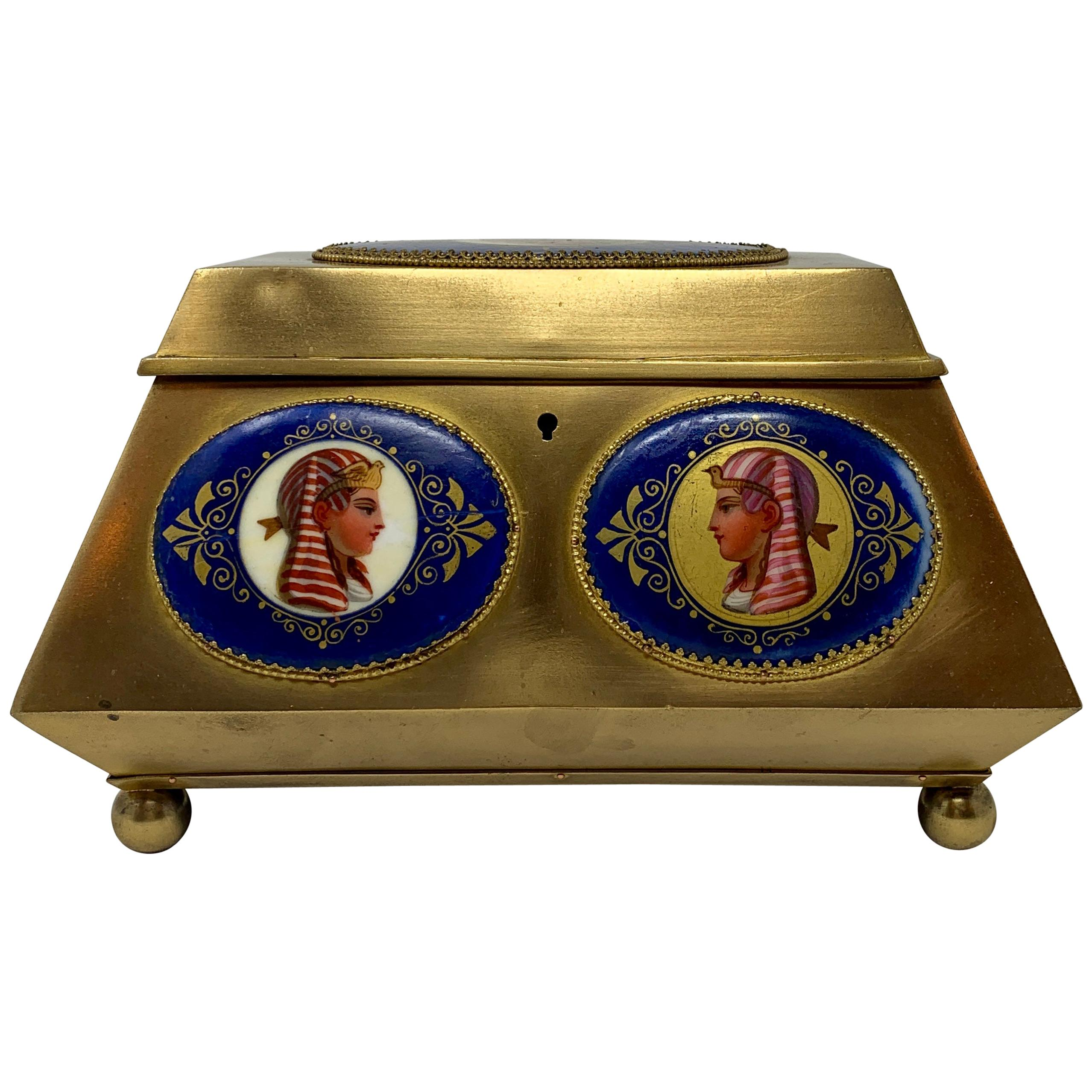 Antique Egyptian Revival Ormolu Jewel Box , circa 1890