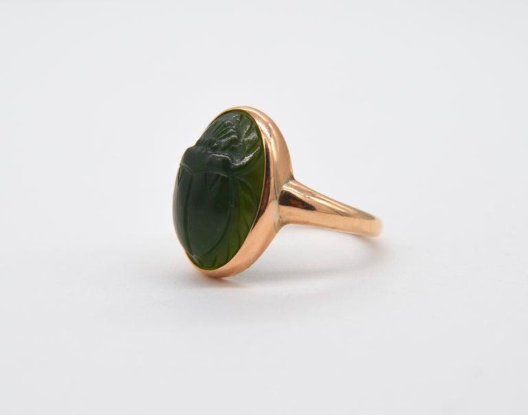 Oval Cut Antique Egyptian Revival Scarab Jade Art Deco 14 Karat Rose Gold Ring For Sale
