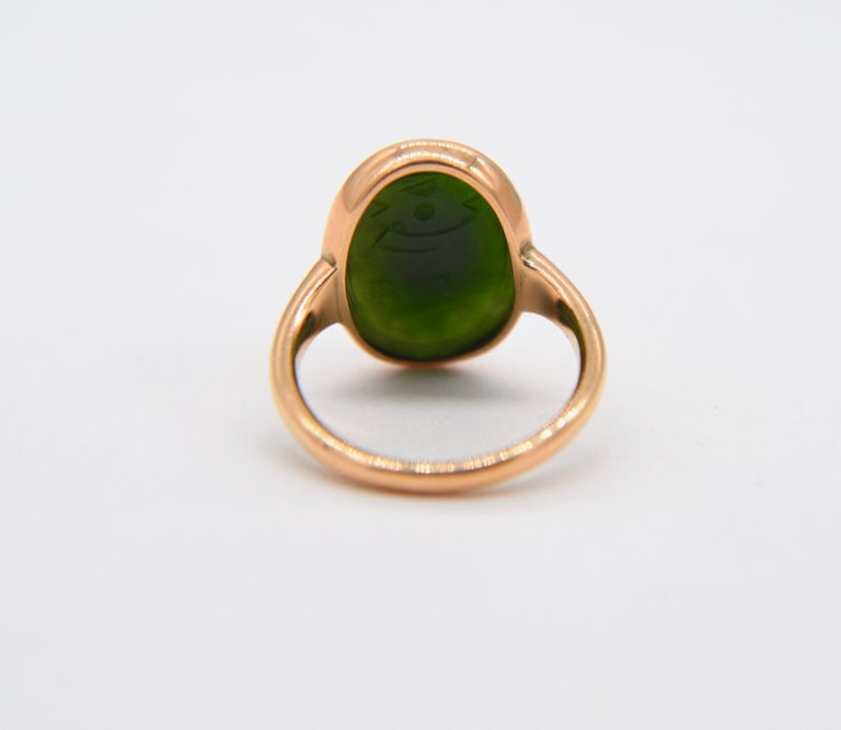 Antique Egyptian Revival Scarab Jade Art Deco 14 Karat Rose Gold Ring In Good Condition For Sale In Claremont, CA