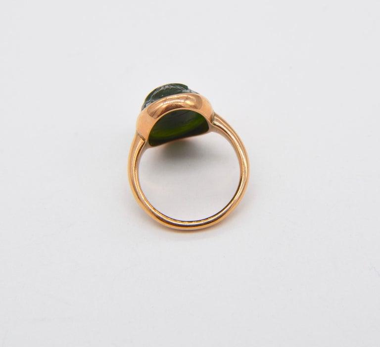 Women's Antique Egyptian Revival Scarab Jade Art Deco 14 Karat Rose Gold Ring For Sale
