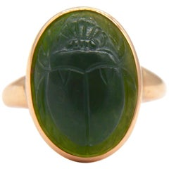 Antique Egyptian Revival Scarab Jade Art Deco 14 Karat Rose Gold Ring