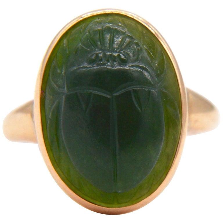 Antique Egyptian Revival Scarab Jade Art Deco 14 Karat Rose Gold Ring For Sale