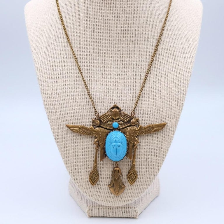 Antique Egyptian Revival Scarab Necklace 1930s In Excellent Condition For Sale In Austin, TX