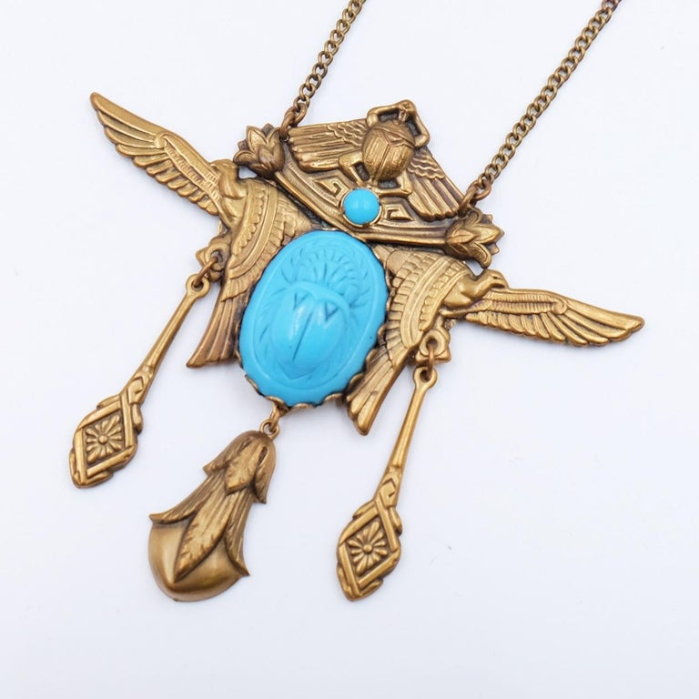 Women's or Men's Antique Egyptian Revival Scarab Necklace 1930s For Sale