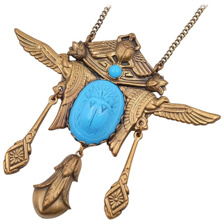 Antique Egyptian Revival Scarab Necklace 1930s For Sale