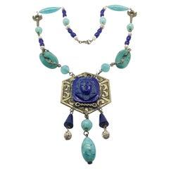 Antique Egyptian Revival Turquoise & Lapis Glass Sautoir Necklace 1930s