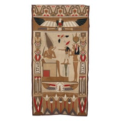 Antique Egyptian Revival Wall Tapestry with Figures & Eagle, circa 1920
