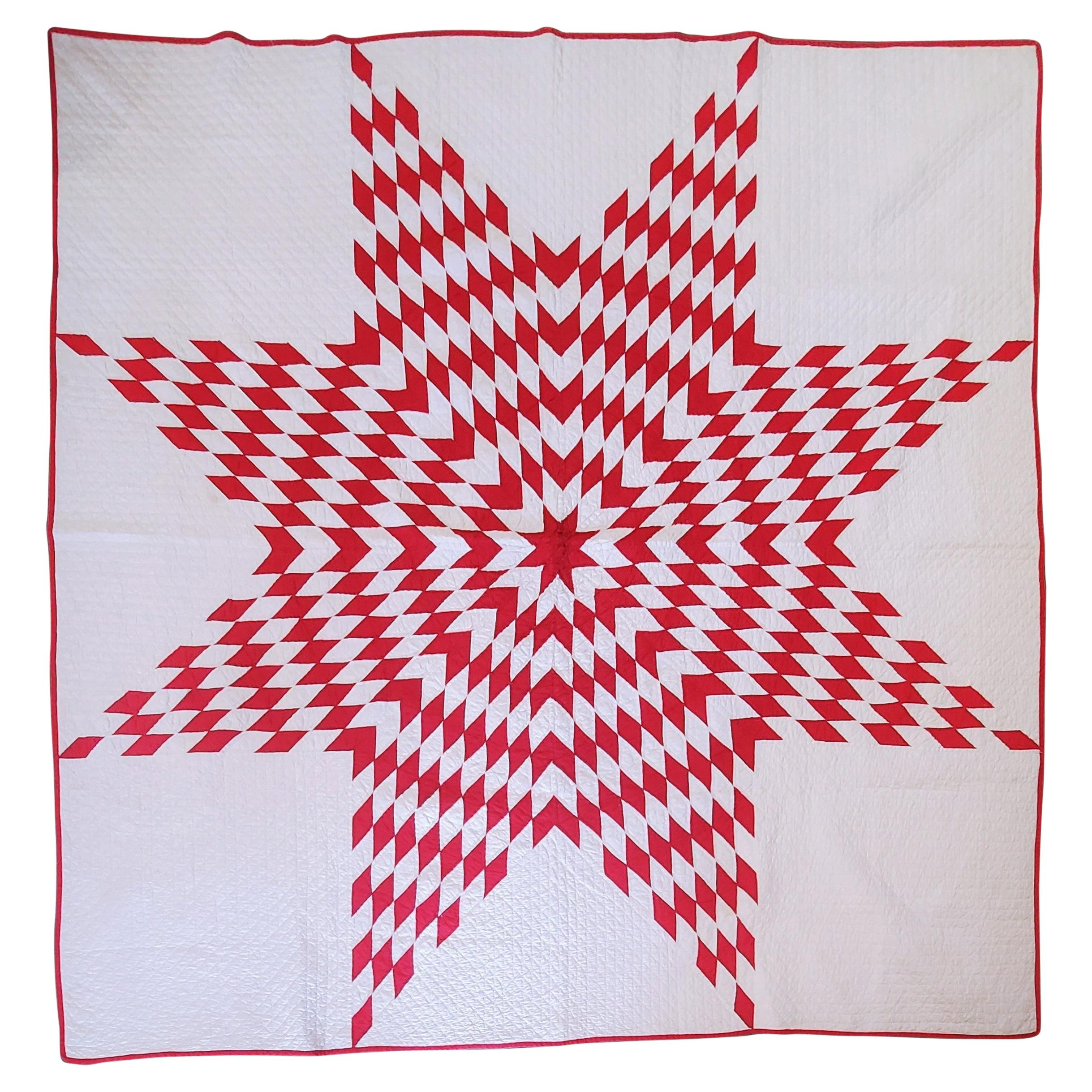 Antique Eight Point Star Quilt in Red & White
