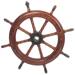 Antique Eight Spoke Mahogany Ships Wheel, 19th Century