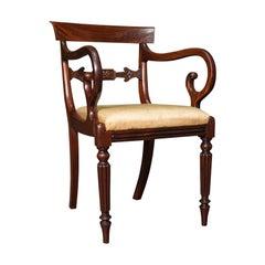 Antique Elbow Chair, English, Mahogany, Carver, Drop in Seat, Regency, C.1820