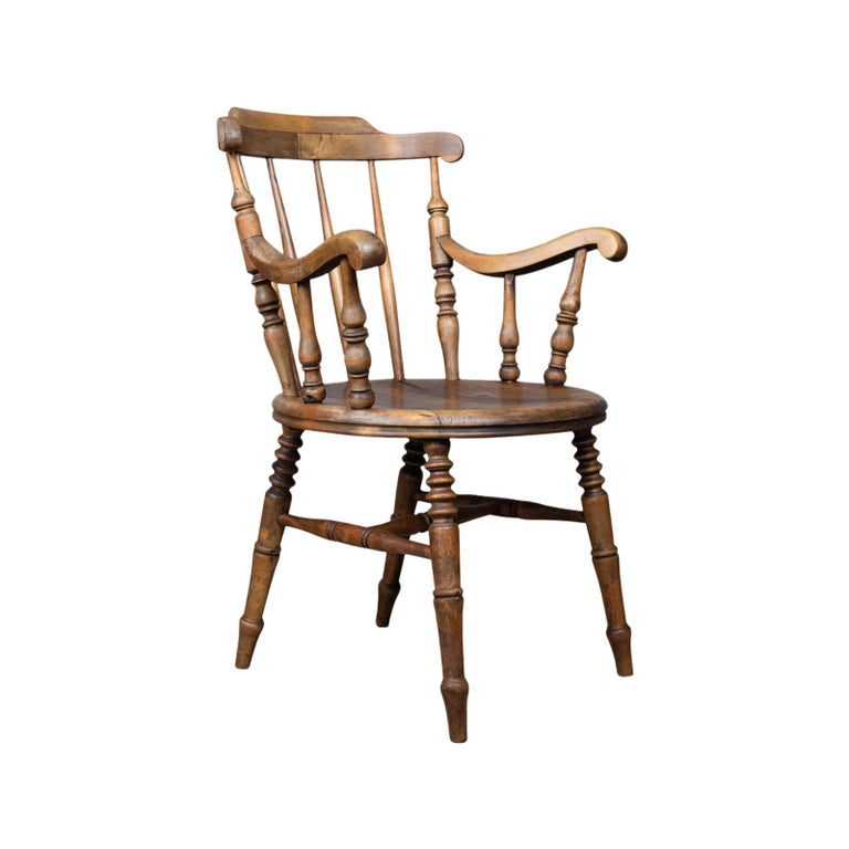Antique Elbow Chair, English, Victorian, Country Kitchen, Armchair, circa 1900 For Sale