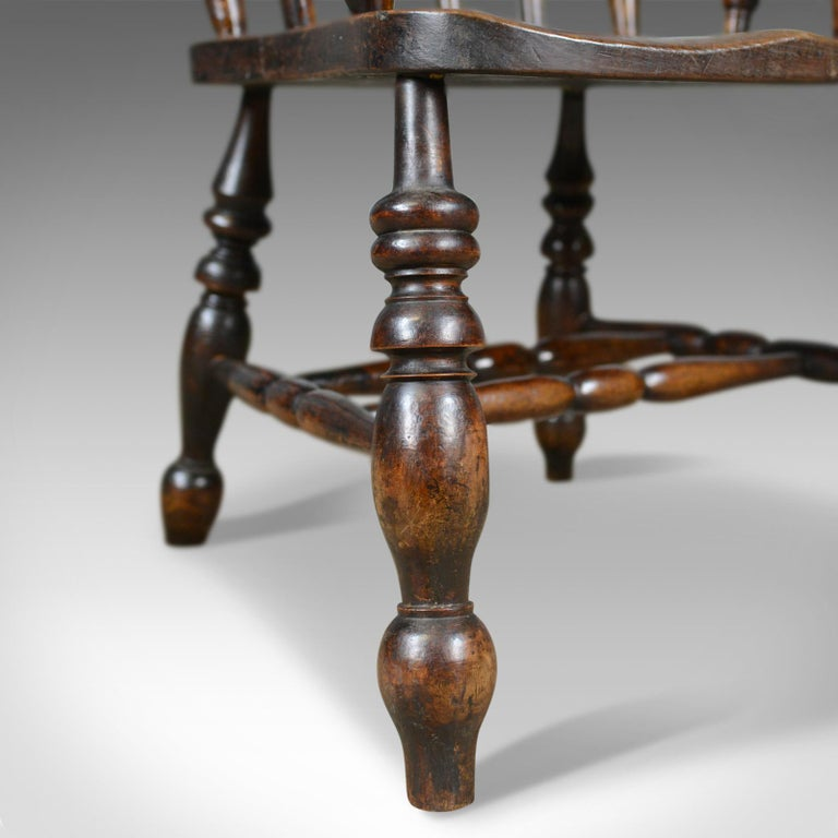 Antique Elbow Chair, English, Victorian, Stick Back Windsor, Elm, circa 1880 For Sale 6
