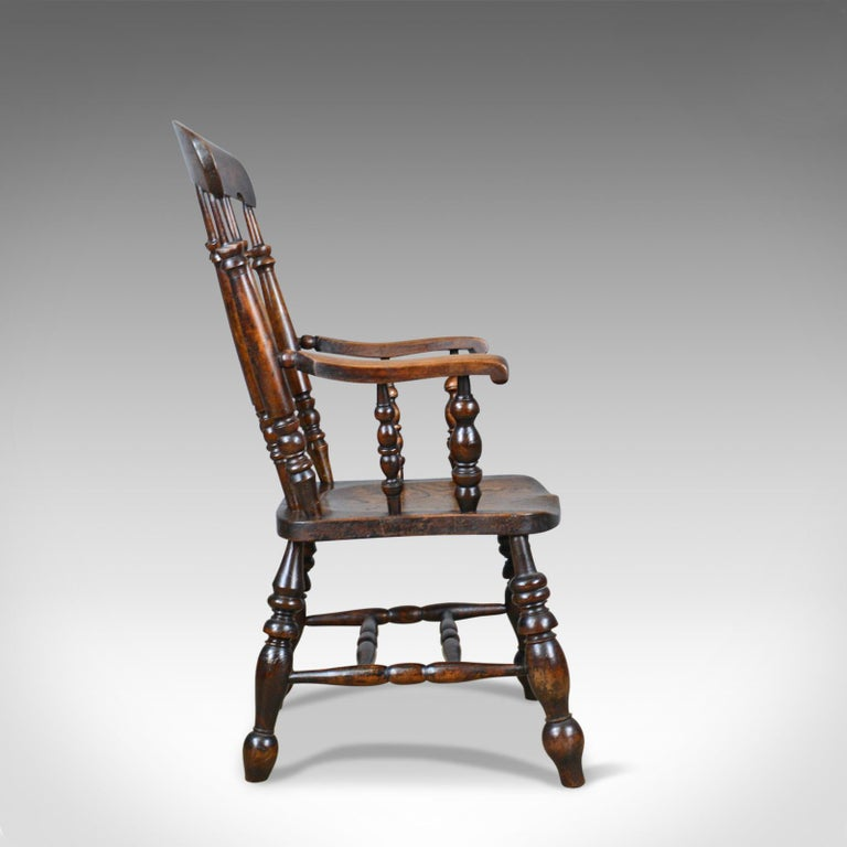 Antique Elbow Chair, English, Victorian, Stick Back Windsor, Elm, circa 1880 In Good Condition For Sale In Hele, Devon, GB