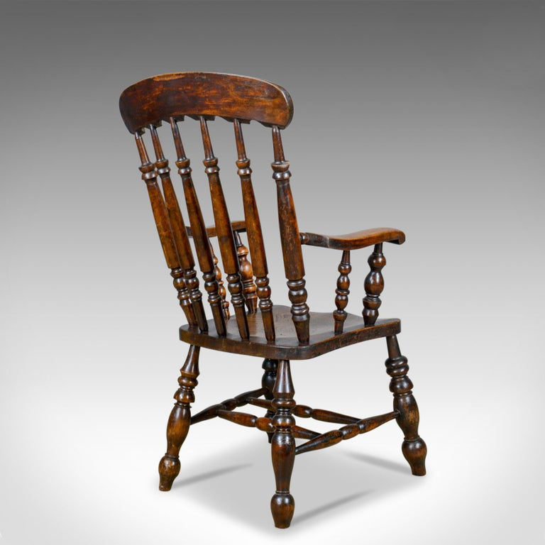 19th Century Antique Elbow Chair, English, Victorian, Stick Back Windsor, Elm, circa 1880 For Sale