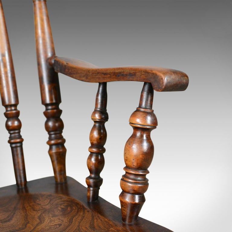 Antique Elbow Chair, English, Victorian, Stick Back Windsor, Elm, circa 1880 For Sale 3