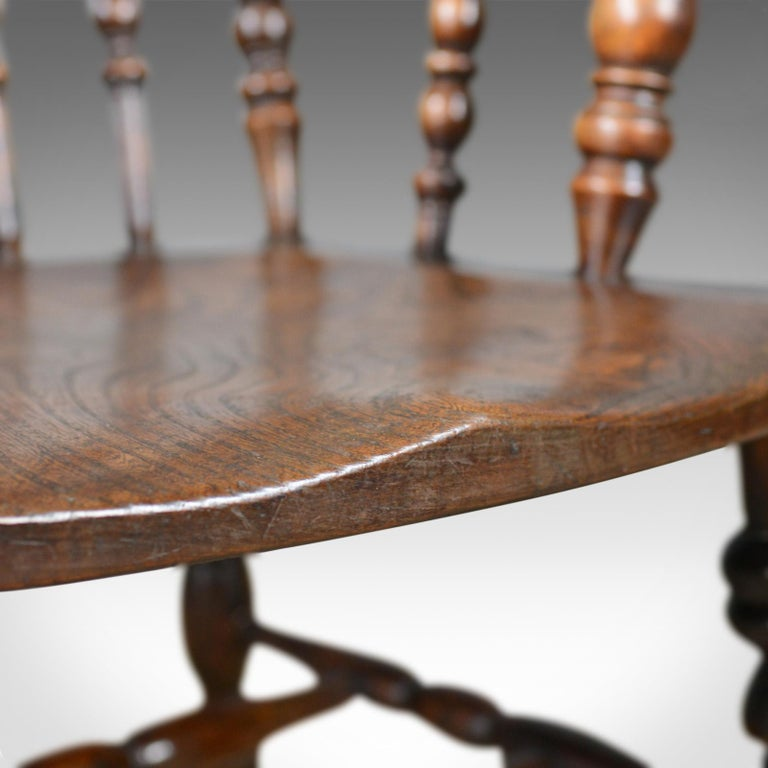 Antique Elbow Chair, English, Victorian, Stick Back Windsor, Elm, circa 1880 For Sale 5