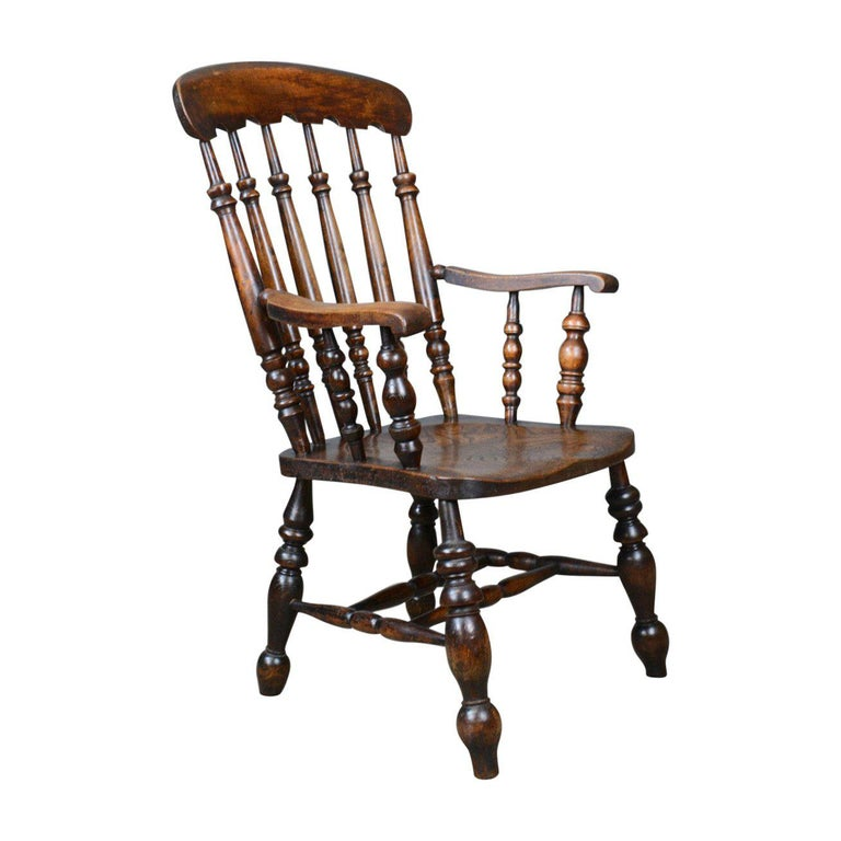 Antique Elbow Chair, English, Victorian, Stick Back Windsor, Elm, circa 1880 For Sale