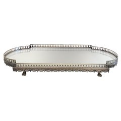 Antique Elegant 19th Century Silver Plated Galleried Mirrored Plateau