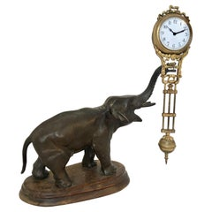 Antique Elephant Swinging Clock by Junghans