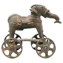 Antique Elephant Toy Cast Bronze on Wheels, India