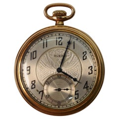 Antique Elgin National Watch Company Display Back Brass Pocket Watch