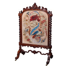 Antique Elizabethan Carved Rosewood, Needle & Beadwork Peacock Fire Screen c1850