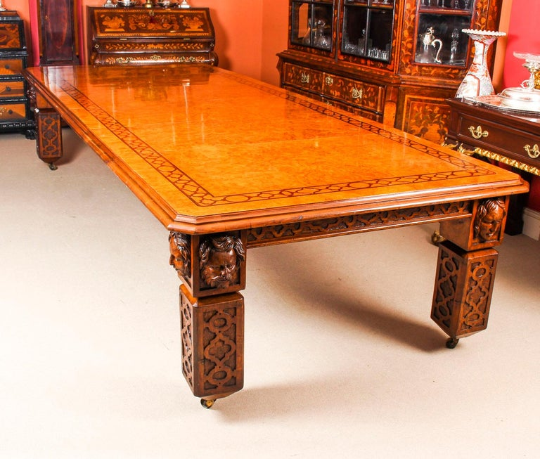 English Antique Elizabethan Revival Pollard Oak Dining Table 19th Century and 14 Chairs For Sale