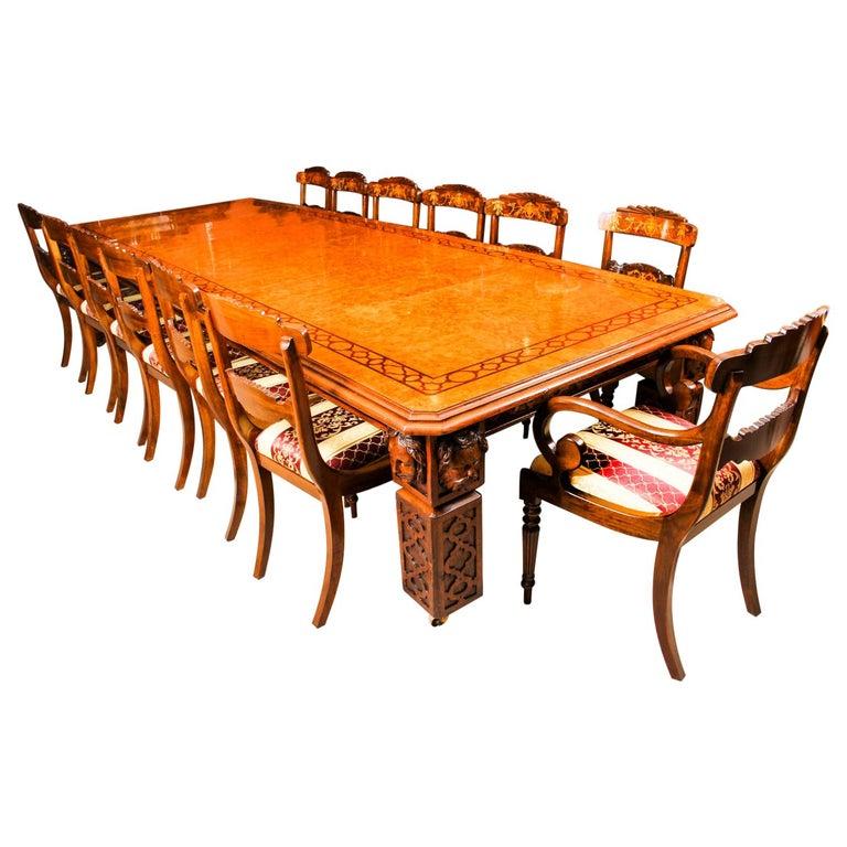 Antique Elizabethan Revival Pollard Oak Dining Table 19th Century and 14 Chairs For Sale