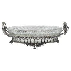 Antique Elkington & Company Silvered Bronze & Cut Crystal Centerpiece Circa 1880