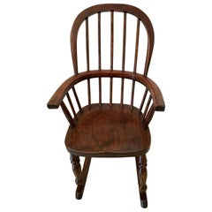 Antique Elm and Ash Childs Windsor Rocking Chair