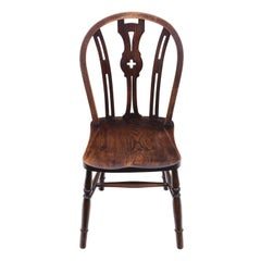 Antique Elm and Beech Kitchen Dining Chair, C1900