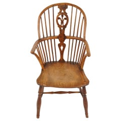 Antique Elm Armchair, Victorian, Bow Back Windsor Chair, Scotland 1820, B2280