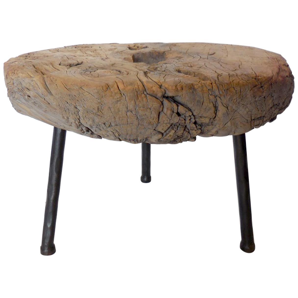 Antique Elm Wood Wheel Table on Iron Legs