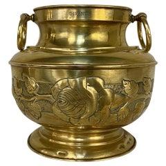 Antique Embossed Brass Jardinière