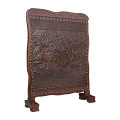 Antique Embossed Fire Screen, Oak, Leather, Fireside, Arts & Crafts, Edwardian